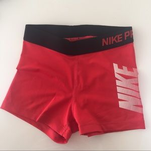 Nike Pro small red shorts tights